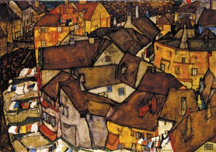 Schiele, Egon: Krumau - Crescent of Houses (The small City V). Fine Art Print.  (003678)